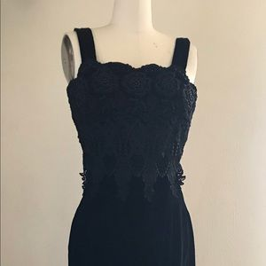 Jessica McClintock Black Velvet Lace Maxi Dress